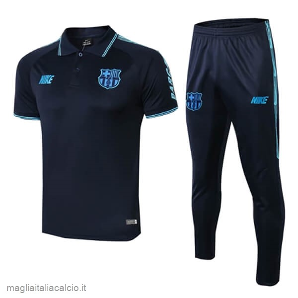 Originale Set Completo Polo Barcellona 2019 2020 Nero Blu