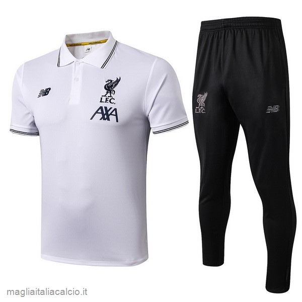 Originale Set Completo Polo Liverpool 2019 2020 Bianco Nero