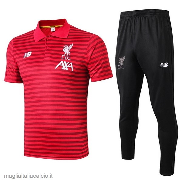 Originale Set Completo Polo Liverpool 2019 2020 Rosso Nero