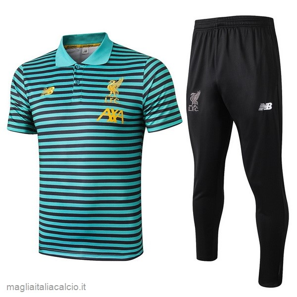 Originale Set Completo Polo Liverpool 2019 2020 Verde Nero