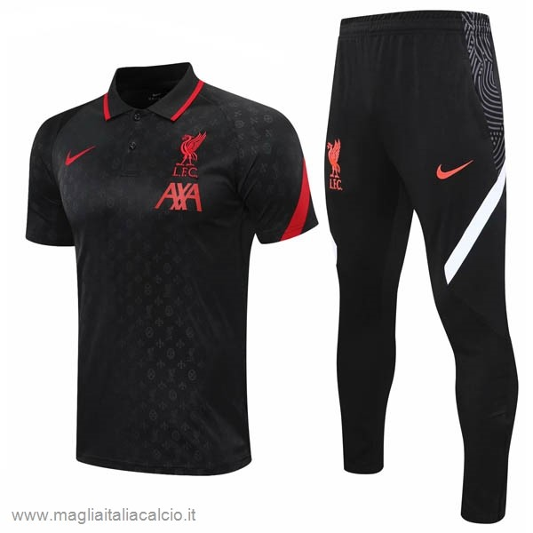 Originale Set Completo Polo Liverpool 2020 2021 Nero