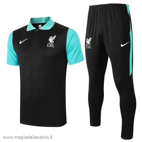 Originale Set Completo Polo Liverpool 2020 2021 Nero Verde