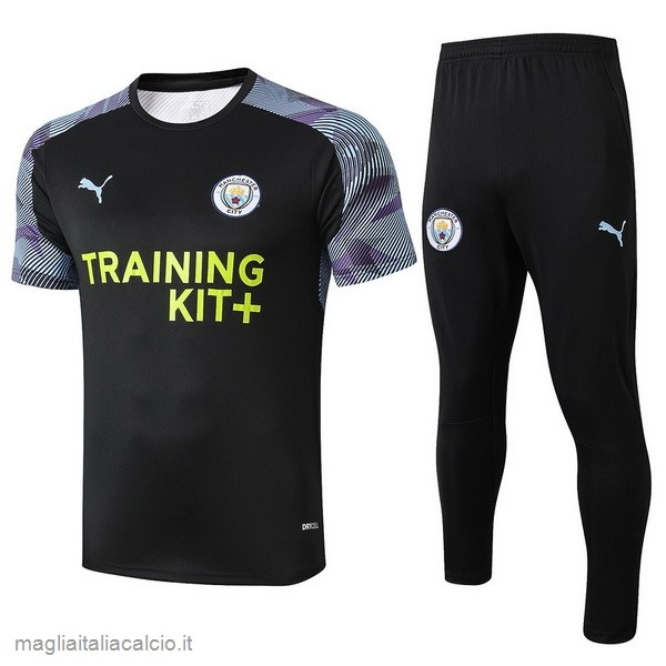 Originale Formazione Set Completo Manchester City 2019 2020 Nero Purpureo
