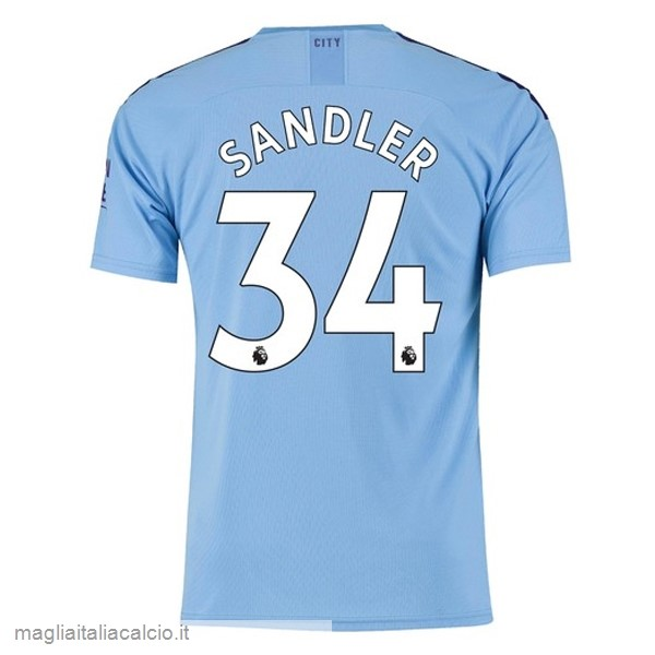 Originale NO.34 Sandler Home Maglia Manchester City 2019 2020 Blu