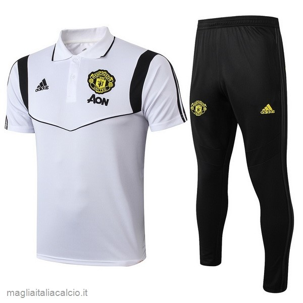 Originale Set Completo Polo Manchester United 2019 2020 Bianco Nero
