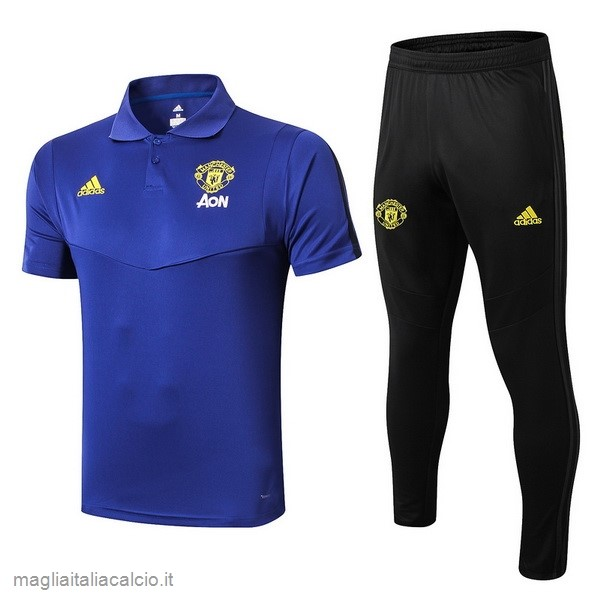 Originale Set Completo Polo Manchester United 2019 2020 Blu Giallo Nero