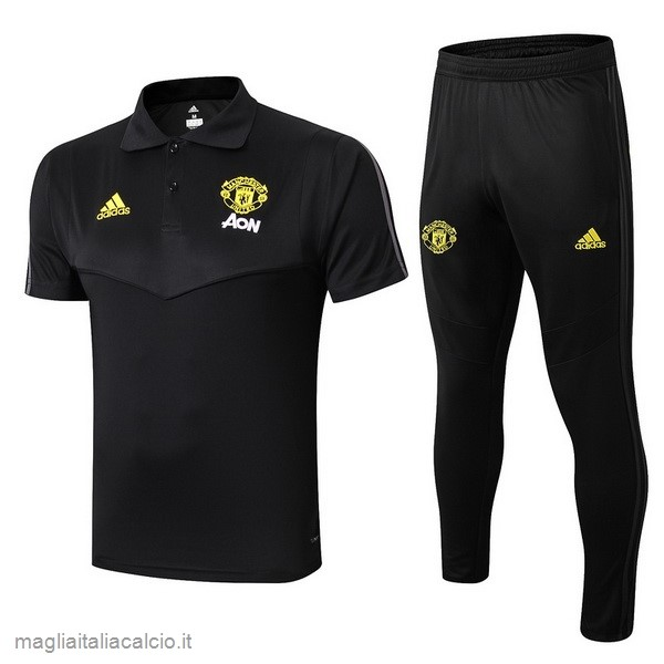 Originale Set Completo Polo Manchester United 2019 2020 Nero Giallo