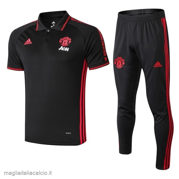 Originale Set Completo Polo Manchester United 2019 2020 Nero Rosso