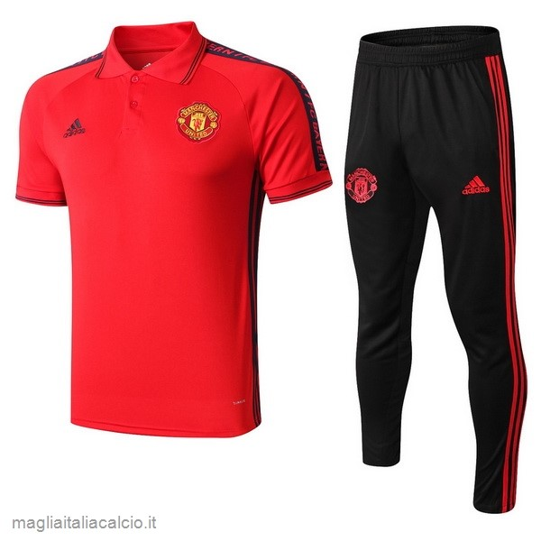 Originale Set Completo Polo Manchester United 2019 2020 Rosso Nero