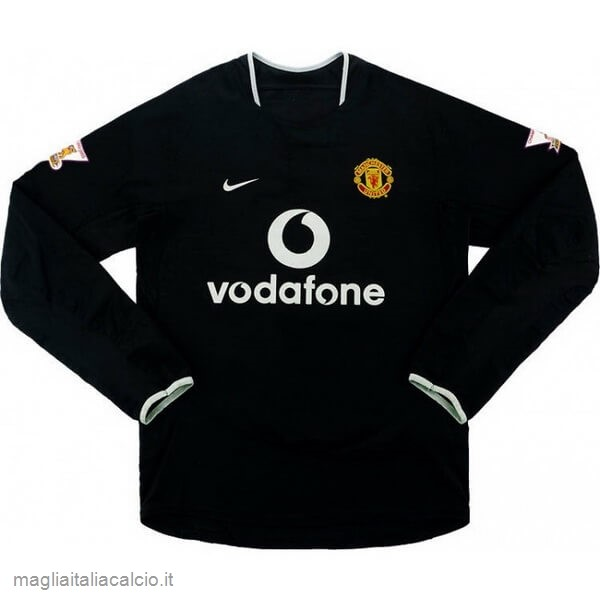 Originale Away Manica lunga Manchester United Stile rétro 2003 2005 Nero
