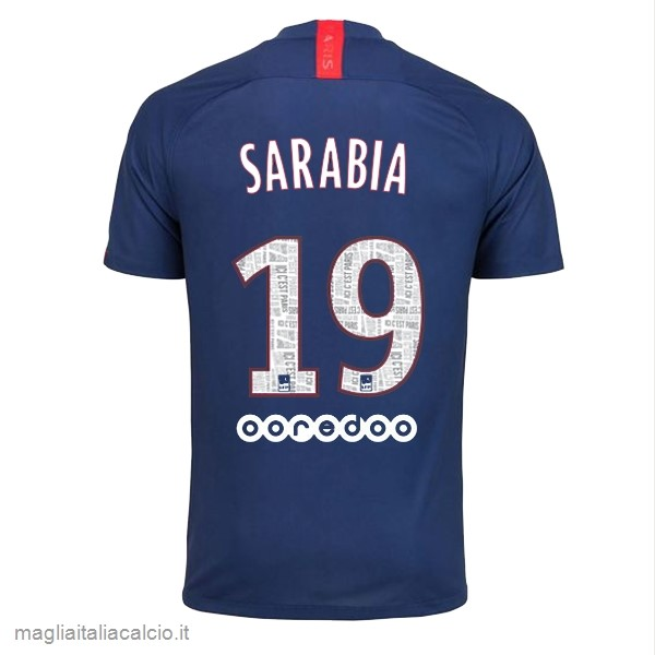 Originale NO.19 Sarabia Home Maglia Paris Saint Germain 2019 2020 Blu