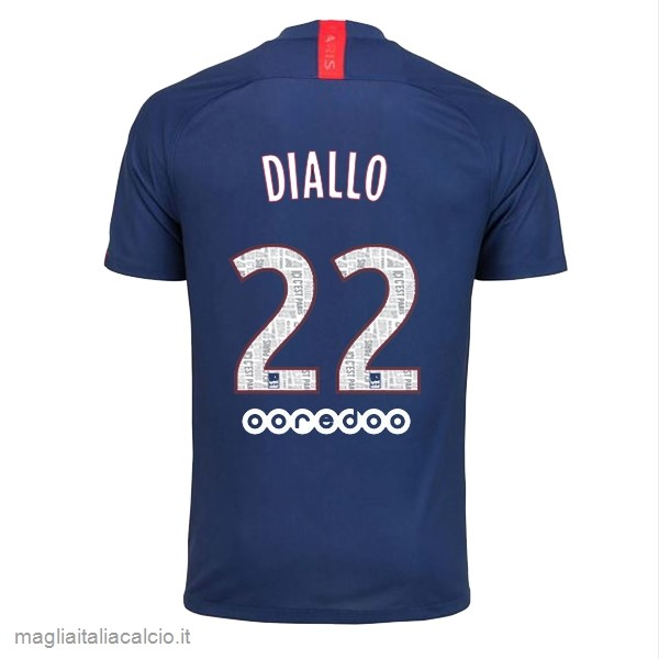 Originale NO.22 Diallo Home Maglia Paris Saint Germain 2019 2020 Blu