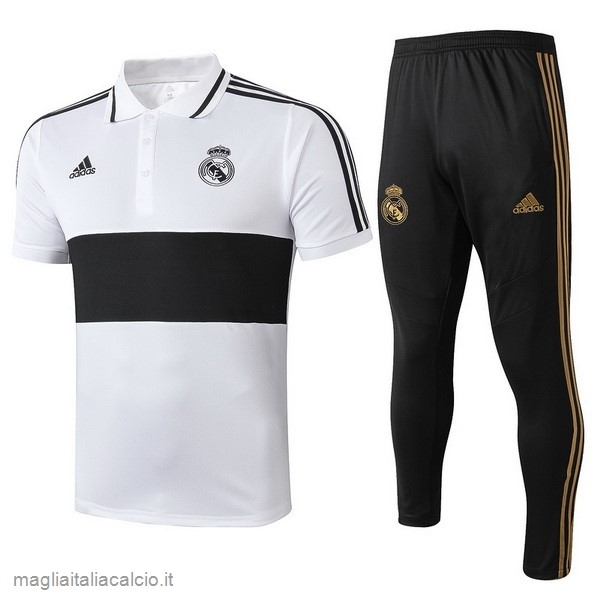 Originale Set Completo Polo Real Madrid 2019 2020 Bianco Nero