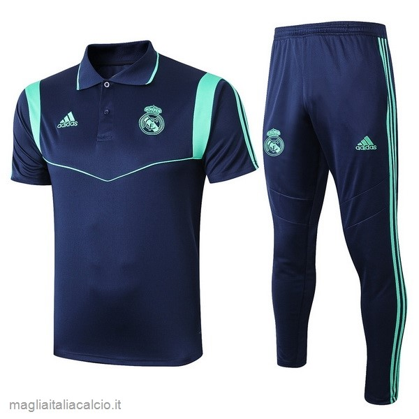 Originale Set Completo Polo Real Madrid 2019 2020 Blu Navy
