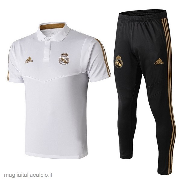 Originale Set Completo Polo Real Madrid 2019 2020 Nero Bianco